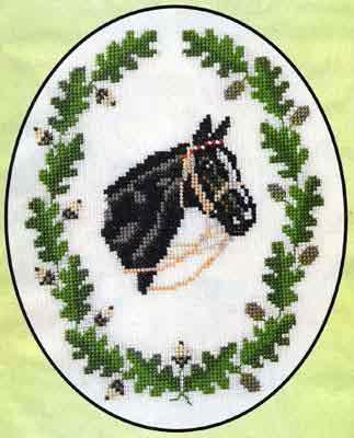 Вышивка крестом лошадь в маках